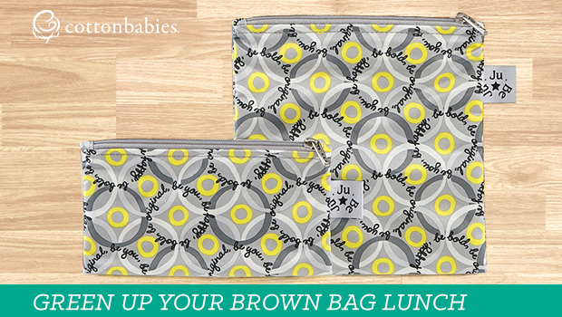Green up your brown bag lunch with reusable options. #cottonbabies