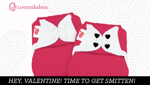 Celebrate Valentine's Day with an adorable PINK cloth diaper with heart-shaped snaps. Get Smitten now! #CottonBabies #FlipDiapers