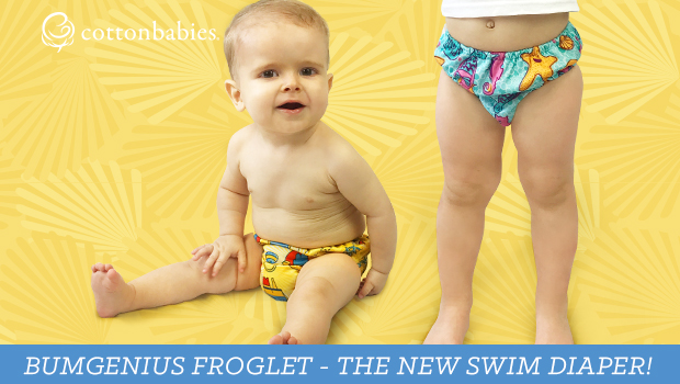 Hop on in! The water's fine with bumGenius Froglet Swim Diaper. #bumgenius #swimdiaper #clothdiapers