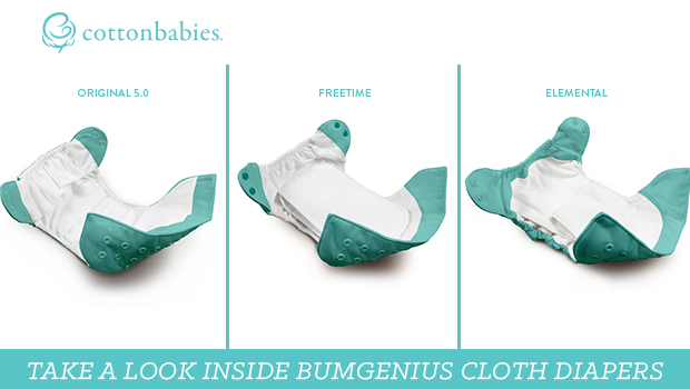 Take a look inside bumGenius Cloth Diapers. Original 5.0 vs. Freetime vs. Elemental #bumgenius #clothdiapers