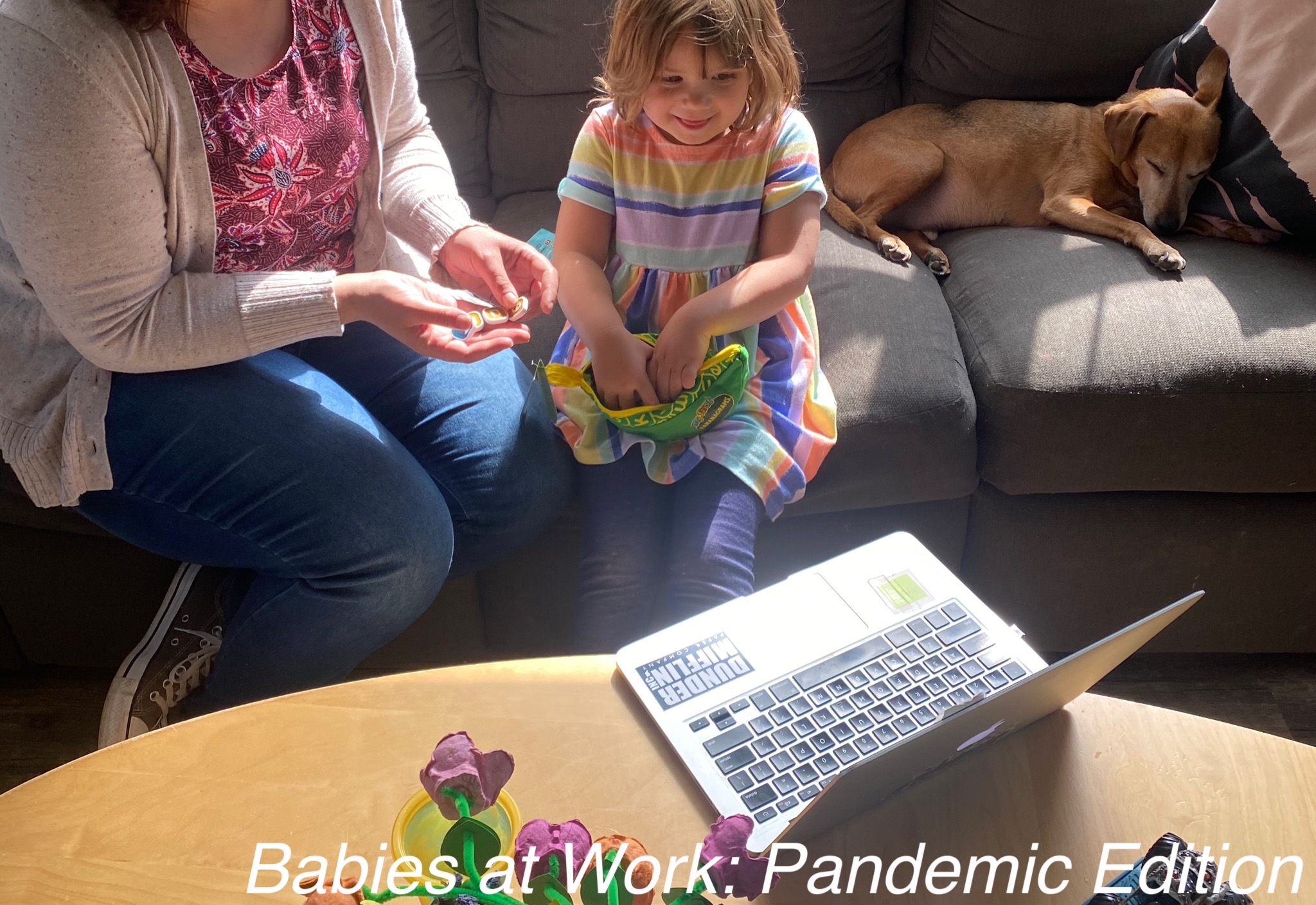 Babies at Work: Pandemic Edition. What it's like to work full-time with a toddler and preschooler. #cottonbabies #babiesatwork